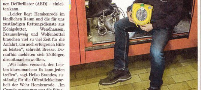 AED Hemkenrode /Artikel in der WF Zeitung