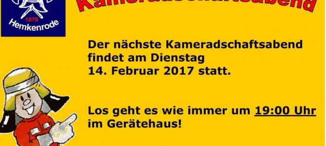 Kameradschaftsabend der FFW Hemkenrode am 14.02.2017