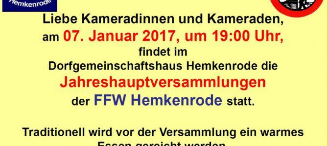 Jahreshauptversammlung der Feuerwehr Hemkenrode am 07.01.2017 im DGH Hemkenrode